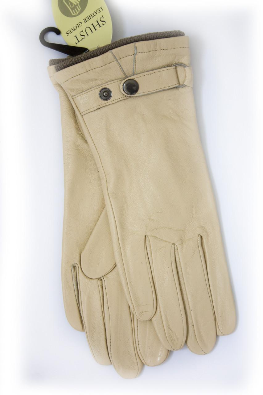 Бежевые кожаные перчатки Большие