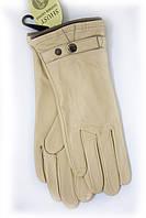 Бежевые кожаные перчатки средние, фото 1