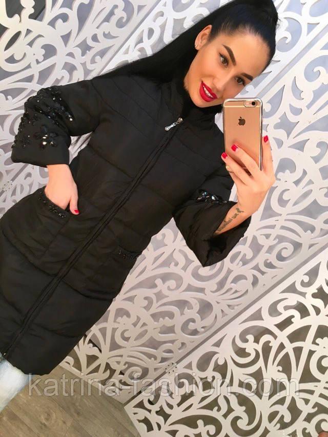 b28f20ceaa4 Женское стильное пальто с камнями и норковой отделкой. Цена указана оптовая