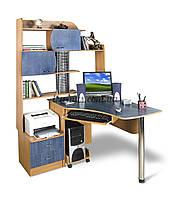 Компьютерный стол с пеналом, угловой Эксклюзив-6 ольха темная+ ольха синяя