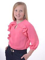 Детская блуза для девочки с рюшами школьная коралловая с длинными рукавами на рукавами