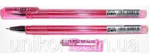 """Ручка гелевая """"PIRAMID"""", корпус прозрачный, 0,5 мм., стержень красный. ECONOMIX"""