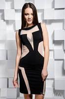 Короткое комбинированное платье без рукавов со вставками из сетки