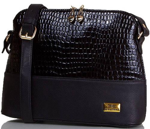 Престижная женская мини-сумка под змею, искусственная кожа ETERNO ETMS35286-2 черный