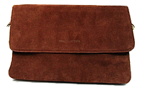 Женская сумка-клатч коричневая замша на плечо, фото 1