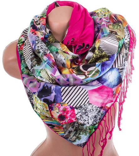 Красочный женский двусторонний палантин из шелка и шерсти 172 на 46 см Eterno ES2707-2-9 разноцвет
