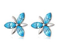 Серьги «Цветы с голубыми кристаллами» с кристаллами Сваровски, купить в Одессе, Украине