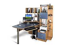 Угловой компьютерный стол с шкафом-пеналом, Эксклюзив-3, ольха тёмная+ ольха синяя
