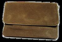 Женская сумка-клатч бежевая замша на плечо