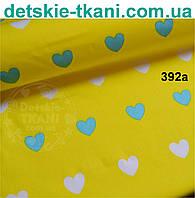 """Ткань """"Сердечки бирюзовые и белые на жёлтом фоне""""  №392а"""