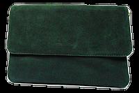 Женская сумка-клатч зеленая замша на плечо