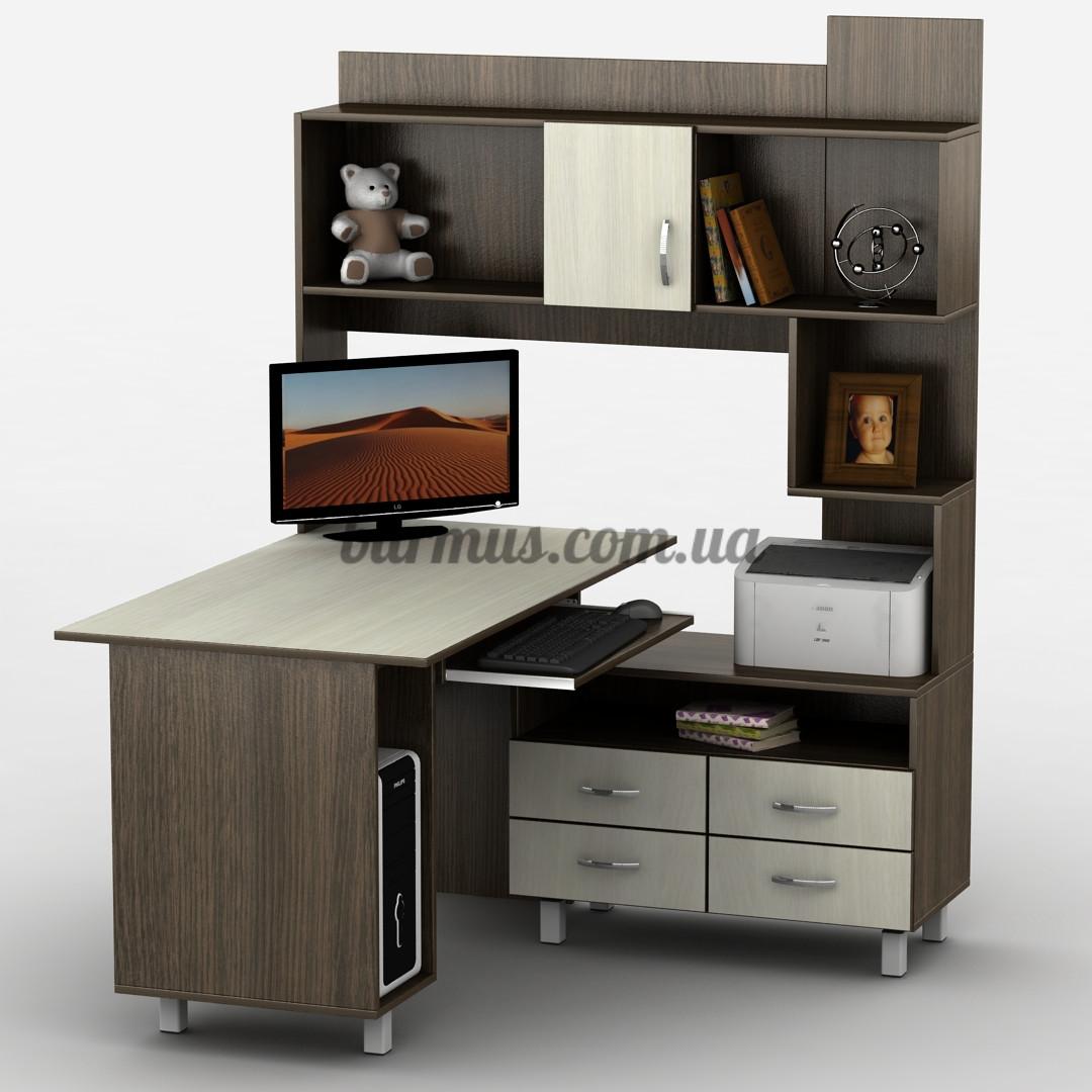 Угловой компьютерный стол с шкафом-пеналом, Тиса-30, венге магия+ дуб молочный