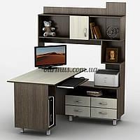 Угловой компьютерный стол с шкафом-пеналом, Тиса-30, венге магия+ дуб молочный, фото 1