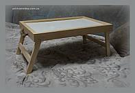 Столик для завтрака с веревочными ручками для декора. (белая столешница)