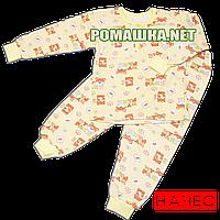 Детская байковая пижама  с начесом р. 98 ткань ФУТЕР 100% хлопок ТМ Алекс 3487 Желтый