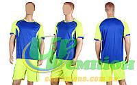 Форма футбольная без номера CO-1604-B (PL, р-р M-2XL, синий, шорты салатовые)