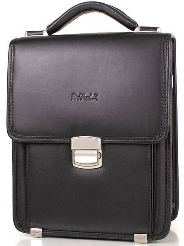 Мужская деловая кожаная борсетка-сумка ROCKFELD (РОКФЕЛД) DS04-020993 Черная
