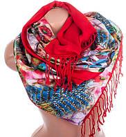 Шикарный женский двусторонний палантин из шелка и шерсти 176 на 45 см Eterno ES2707-2-3 разноцвет
