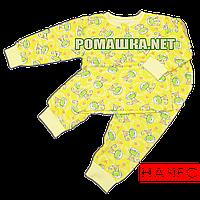 Байковая пижама для новорожденного р. 80-86 с начесом ткань ФУТЕР 100% хлопок ТМ Алекс 3487 Желтый 80