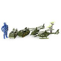 Набор транспорта 523-5 военный, 4 шт, солдат 9,5см, в кульке, 19-25-4см