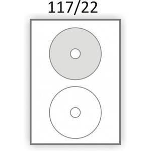 Самоклеящаяся обложка (Этикетка) для дисков  СD / DVD / Blue-ray (100 листов) (117/22мм.)