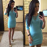 9a19abfa728 Женское платье короткое облегающее по горловине на шнуровке джерси мята 027 03  ЕМ