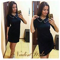 Платье черное классика с бусинами на воротнике SMd589