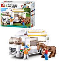 Конструктор SLUBAN M38-B0559 машина для перевозки лошадей, фигурки, лошадь, 170 деталей, в коробке