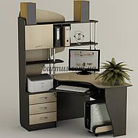 Компьютерный стол с полками, угловой Ск-22, венге- магия+ дуб молочный