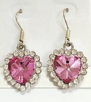 Серьги Сердце с розовым камнем