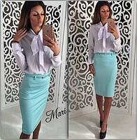 Блуза с бантом однотонная