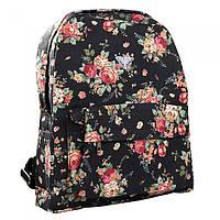 Рюкзак сумка в цветочках розы городская черного цвета