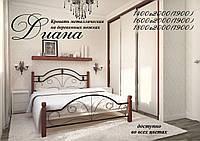 Металеве ліжко Діана на дерев'яних ногах, фото 1