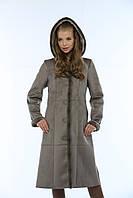 Модная женская дубленка длинная Б-13н с мехом норка.