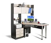 Компьютерный стол с полками, угловой Ск-12, венге- магия+ дуб молочный