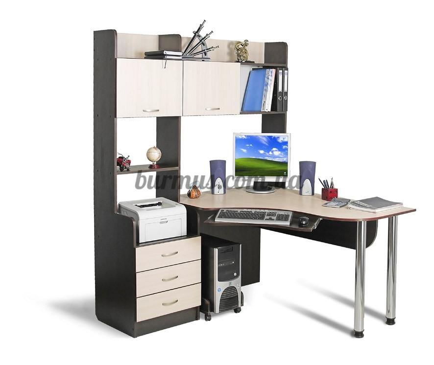 Компьютерный стол с полками, угловой ск-12, венге- магия+ ду.