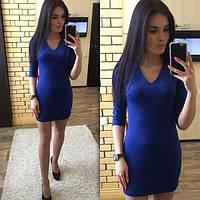 9262d3e2701 Женское платье короткое облегающее синее дайвинг 020 01 ЕМ