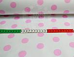 Польская ткань с розовыми горохами 23 мм на белом фоне №399, фото 4