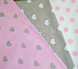 Польская ткань с розовыми горохами 23 мм на белом фоне №399, фото 5