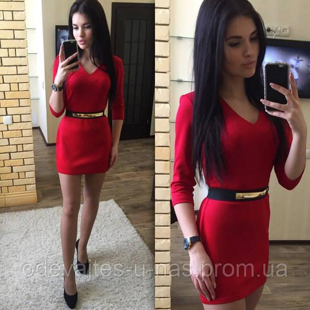 8313d4e13d7 Женское платье короткое облегающее красное дайвинг 020 02 ЕМ