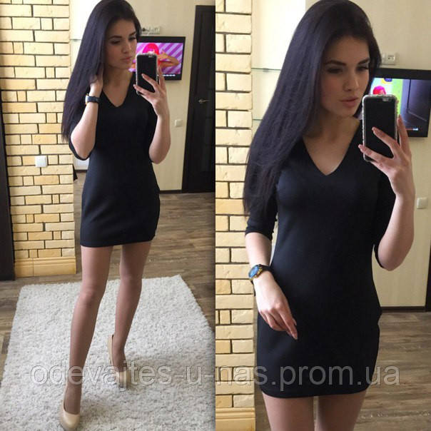 1dc87f63695 Женское платье короткое облегающее черное дайвинг 020 03 ЕМ