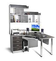Компьютерный стол на металических опорах с полками, угловой Ск-13, алюминий+ венге- магия