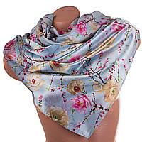Прекрасный женский двусторонний шарф из атласа  166 на 69 см ETERNO (ЭТЕРНО) ES0406-7-12 голубой