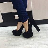 Женские туфли черные замшевые
