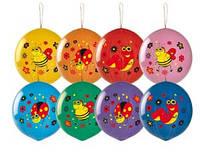 Воздушные шары Gemar, расцветка: Пастель с рисунком Насекомые,форма: шар арбуз Панч-болл,Диаметр 45 см, 50 шт.