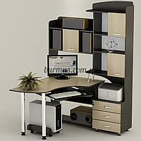 Компьютерный стол на металических опорах с полками, угловой Ск-18, дуб молочный+ венге- магия