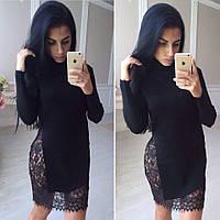 Вязанное платье с гипюром