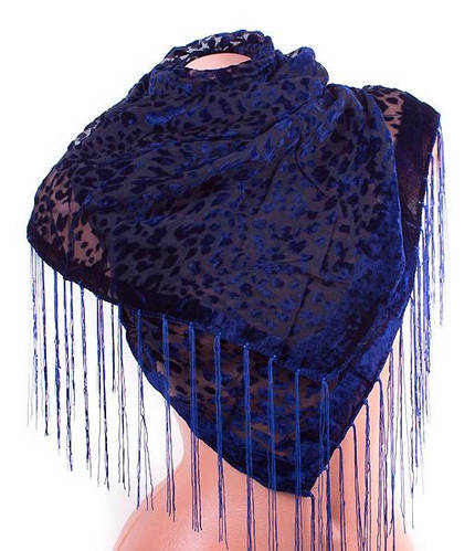 Оригинальный женский шарф из бархата 150 на 50 см ETERNO (ЭТЕРНО) ES0206-6-10 синий