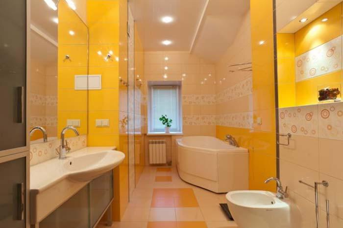 Ванная в желтых тонах.Дизайн  Интерьеров в Харькове Строительство Коттеджей
