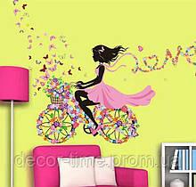 Интерьерная виниловая наклейка на стену, детская Девочка на велосипеде и бабочки (017467)